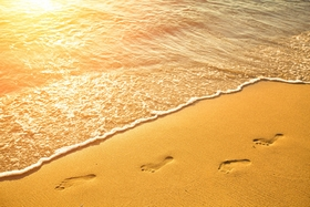 footprints in golden light on the beach